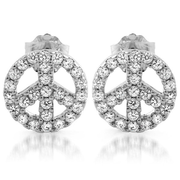 Sterling Silver CZ Peace Sign Stud Earrings