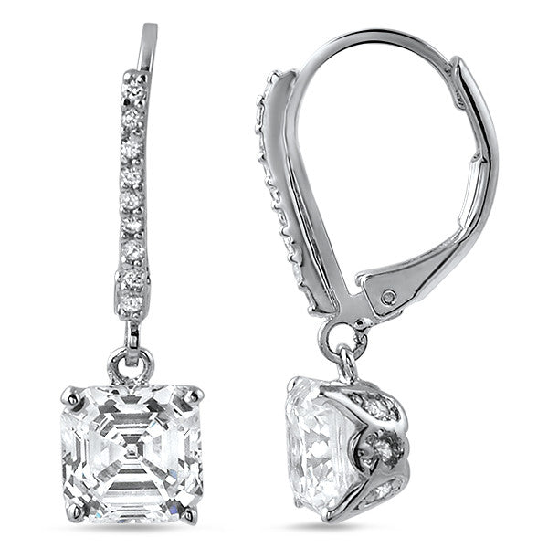 4.30 CTW Silver Asscher Cut CZ Drop Earrings