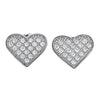 Sterling Silver Micropave CZ Heart Stud Earrings