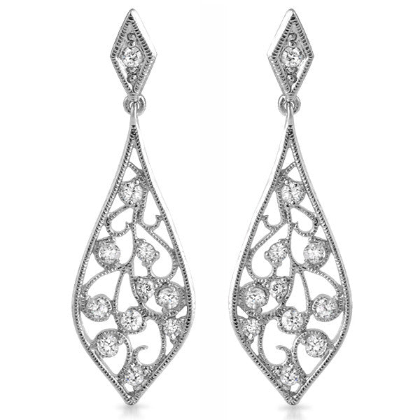 Silver Fancy CZ Chandelier Dangling Earrings