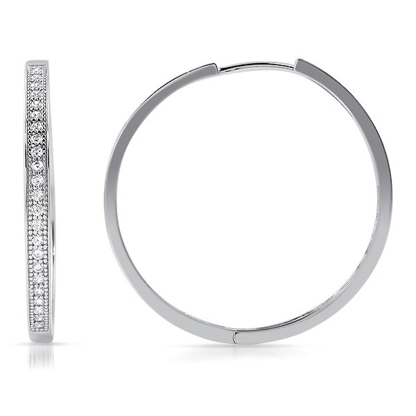 30mm Large Silver CZ Hoop Earrings