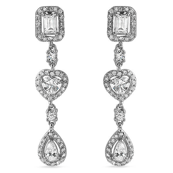 Fancy Cut Sterling Silver CZ Dangling Earrings