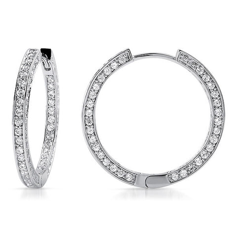 22mm Fancy Silver Pave CZ Hoop Earrings
