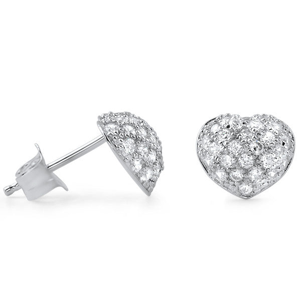 Sterling Silver Micropave Puffed Heart Earrings