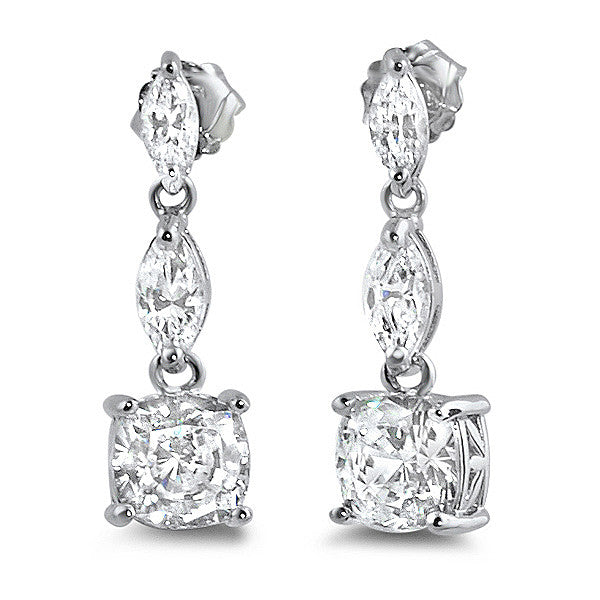 3.36 CTW Cushion and Marquise Cut Drop Earrings