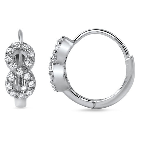 925 Silver CZ Infinity Sign Hoop Earrings