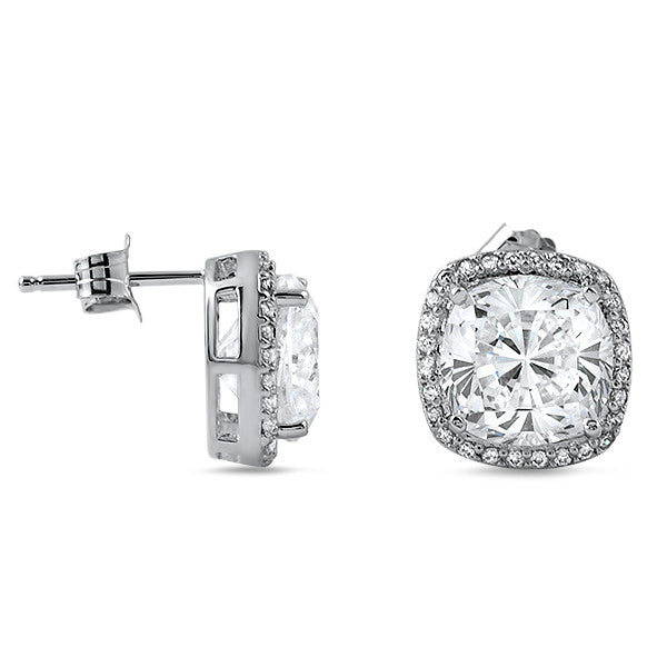 6.20 CTW Large CZ Halo Fashion Stud Earrings