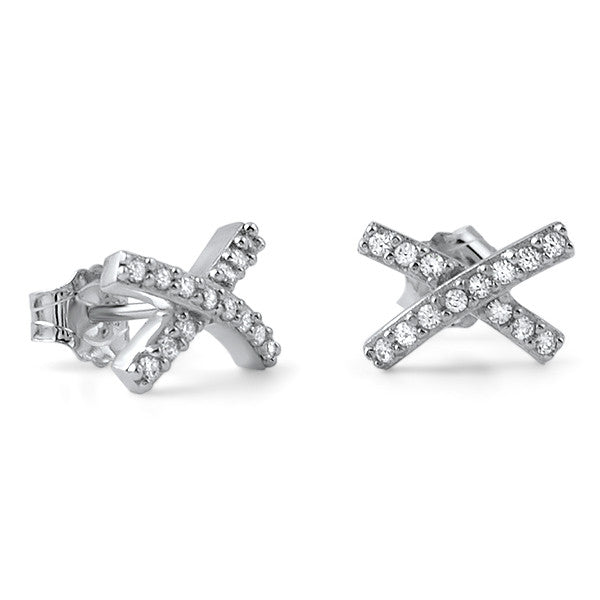 CZ Sterling Silver X Shape Fashion Earrings