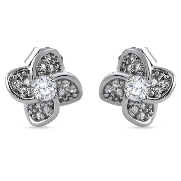 925 Silver 3D Flower CZ Stud Earrings