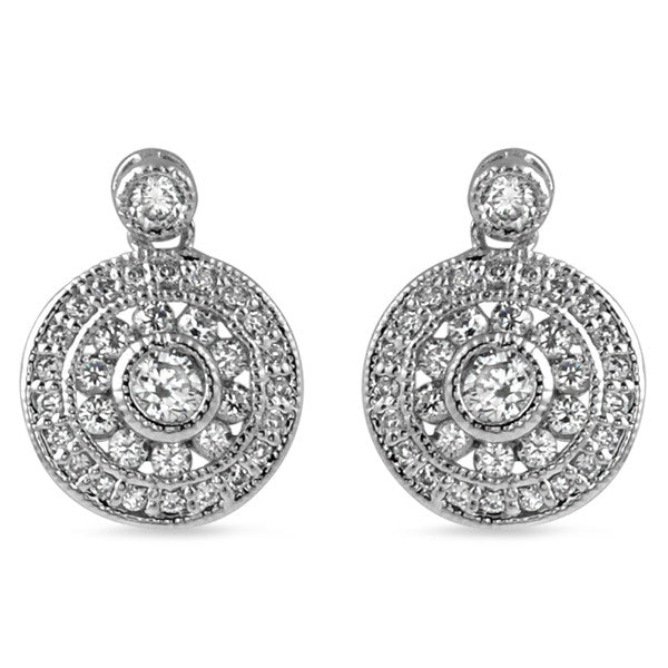 CZ Silver Vintage Round Drop Earrings