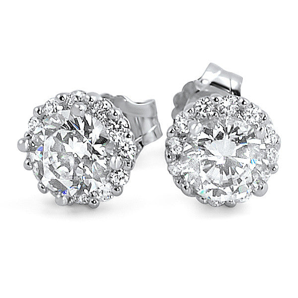 1.16 CTW Simulated Diamond Halo Stud Earrings