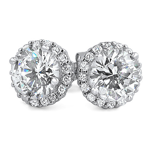 2.86 CTW Flawless 5A Zirconia Halo Earrings