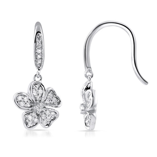 Sterling Silver CZ Fish Hook Flower Earrings