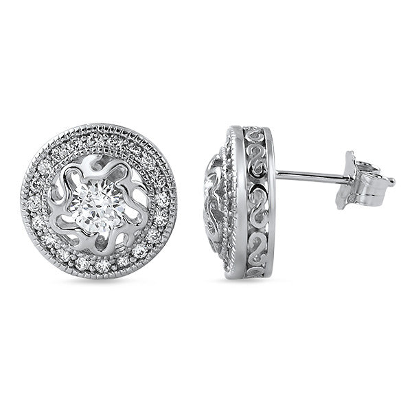 0.90 CTW CZ Art Deco Vintage Stud Earrings