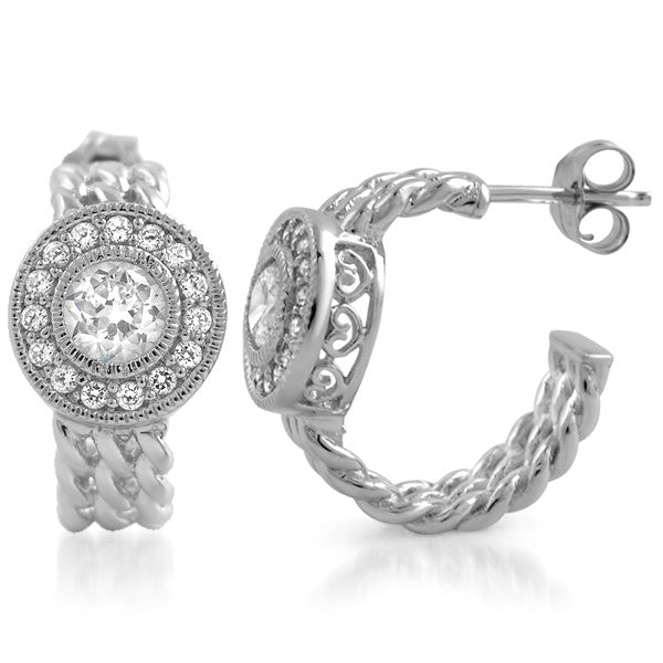 Silver Fancy Braided CZ Halo Huggie Earrings