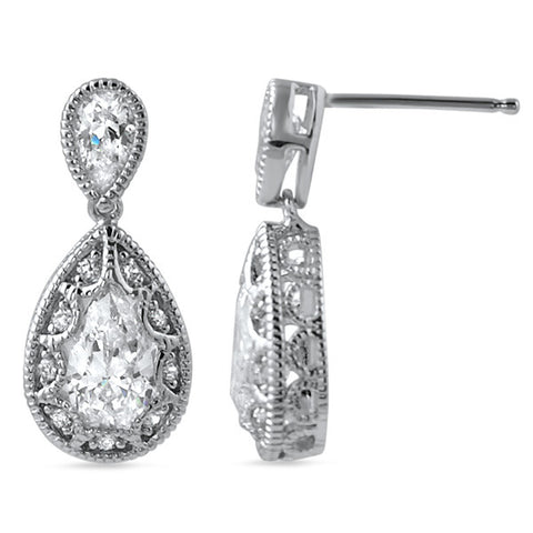 2.90 CTW Pear Shaped CZ Vintage Drop Earrings