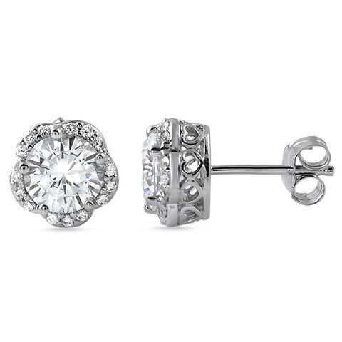 1.75 CTW Flower Shaped Halo CZ Stud Earrings