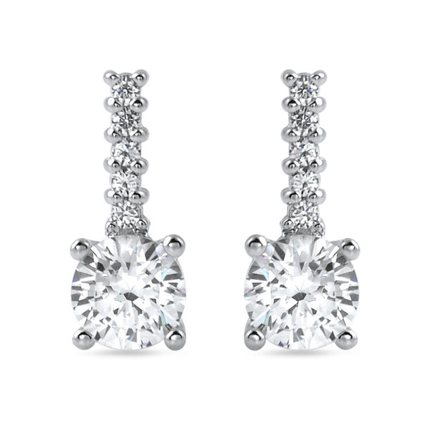 1.10 CTW Silver Simple Round CZ Drop Earrings