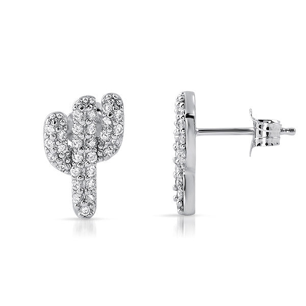 Cubic Zirconia Silver Cactus Stud Earrings