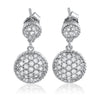 Sterling Silver Pave Set Round Drop Earrings