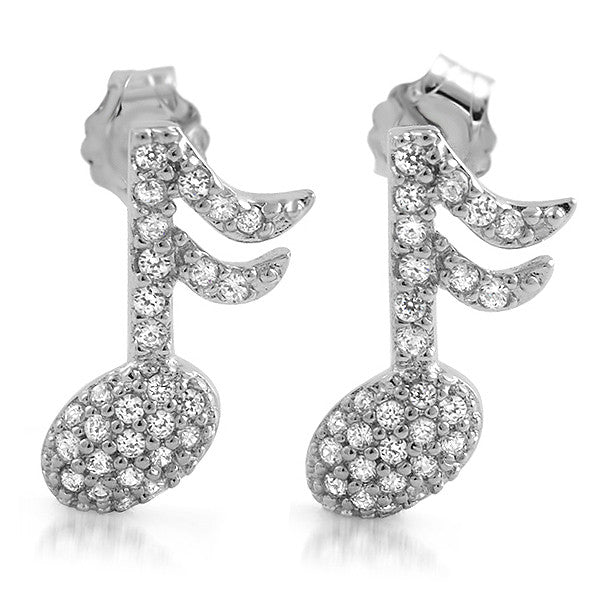 Sterling Silver Micropave CZ Musical Note Earrings
