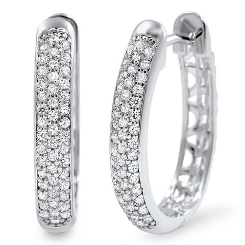 Flawless CZ Pave Silver Horseshoe Hoop Earrings