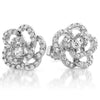 Cubic Zirconia Pave Set Silver Rose Earrings