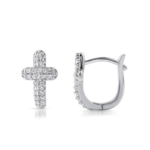 Silver CZ Pave Cross Huggies Earrings