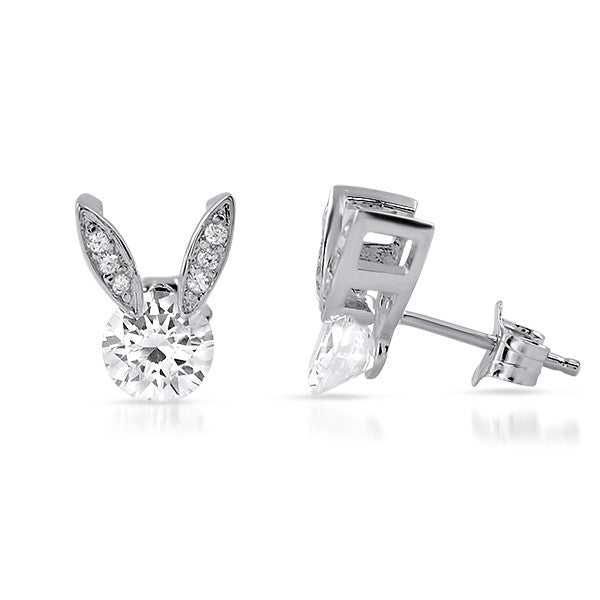 1.5 CTW Tension Set CZ Bunny Earrings