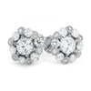 Silver Fancy Snowflake CZ Stud Earrings
