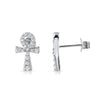 Micropave CZ Ankh Sterling Silver Earrings