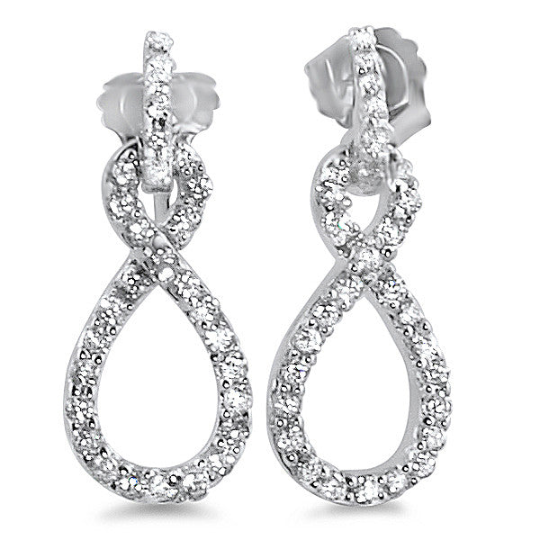 Sterling Silver Signity CZ Infinity Drop Earrings