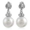 Created Pearl and CZ Silver Drop Earrings