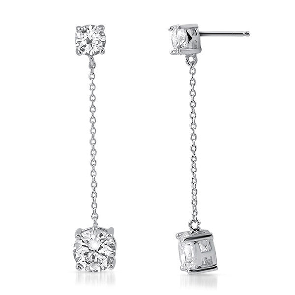 3.25 CTW Solitaires CZ Drop Earrings