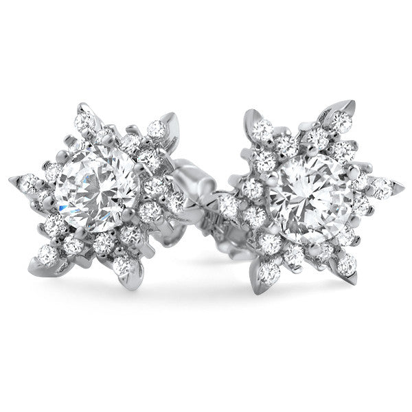 Sterling Silver Fancy Snowflake CZ Stud Earrings