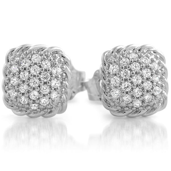 Sterling Silver Micropave Puffed Square CZ Studs