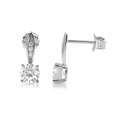 1 CTW Simple CZ Small Drop Earrings