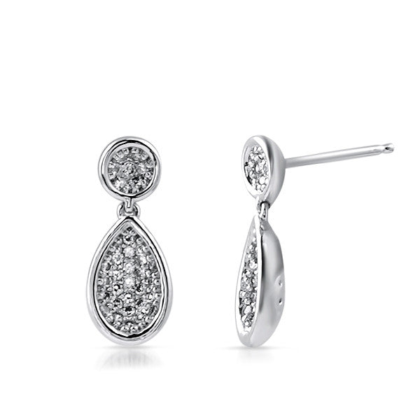 Sterling Silver Micropave CZ Teardrop Earrings