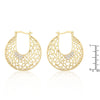 18K Gold Tone Filigree CZ Hoop Earrings