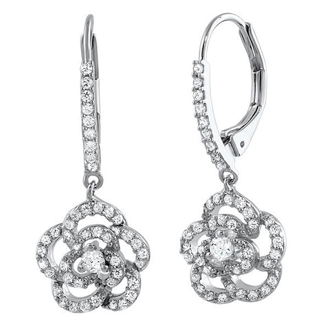 Sterling Silver CZ Pave Flower Leverback Earrings