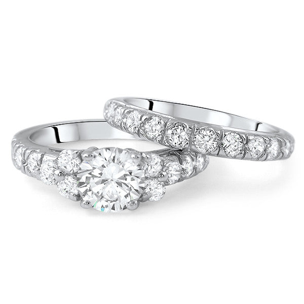 Sterling Silver Cubic Zirconia Engagement Ring Set