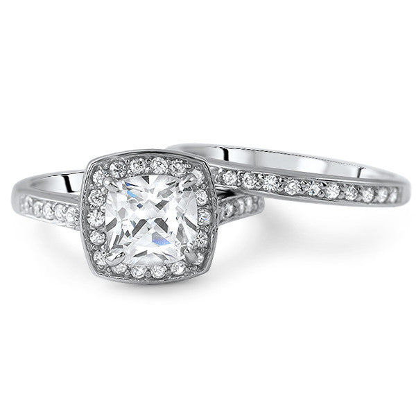 2.25 CTW Cushion Cut Halo CZ Engagement Ring Set