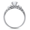 1.15 CTW Silver Fancy 3 Stone Engagement Ring Set