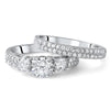 1.35 CTW Silver 3 Stone Pave Engagement Ring Set