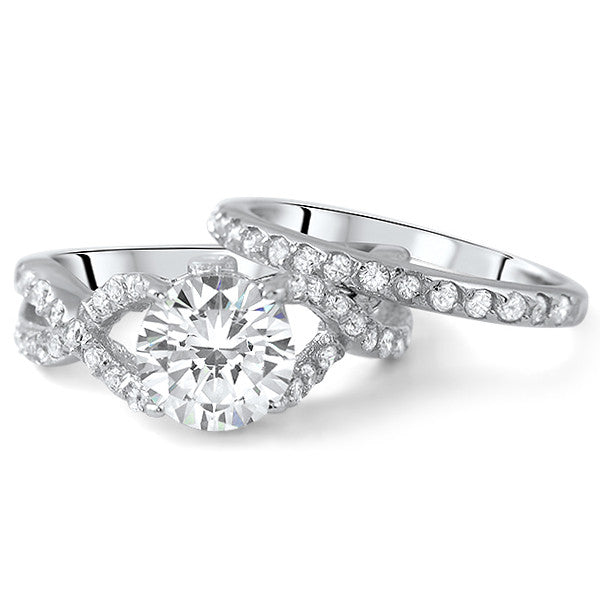 2.75 CTW Silver CZ Fancy Weave Engagement Ring Set