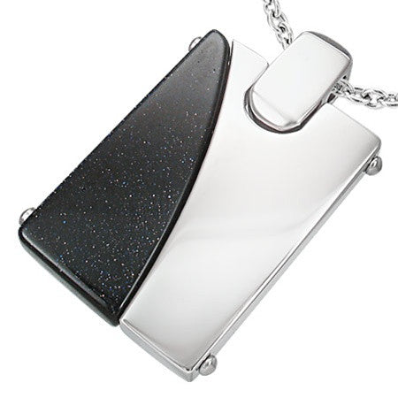 Black Quartz EMILY Steel Dogtag Necklace