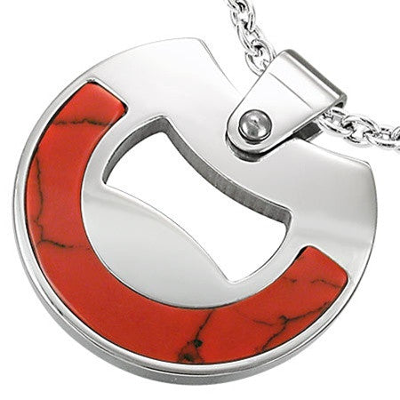 Red Turquoise Stainless Steel ECLIPSE Necklace