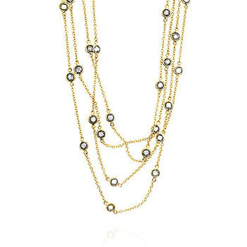 60 inch 18K Gold Tone CZ Station Necklace
