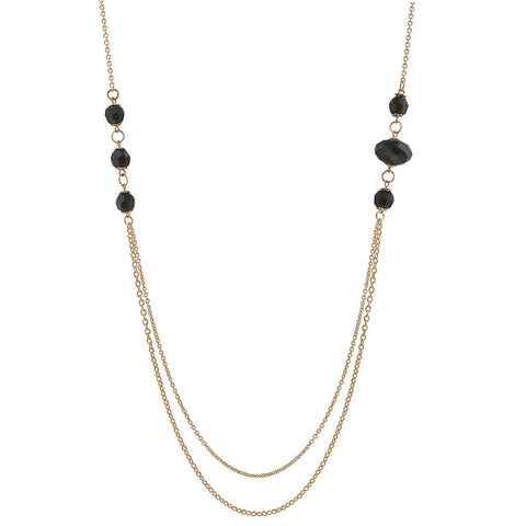 Gold Tone Double Strand Black Bead Necklace