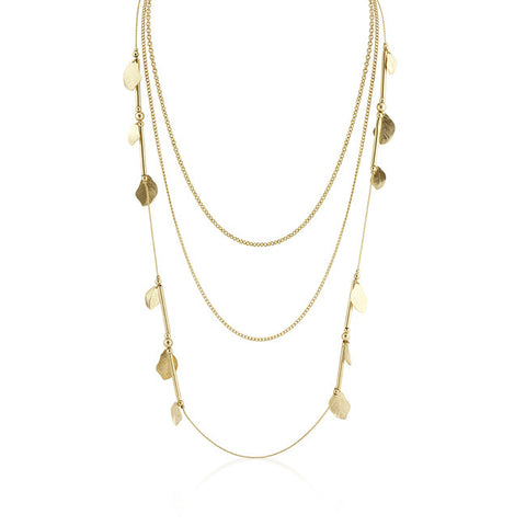 18K Gold Plated Layered Motif Necklace